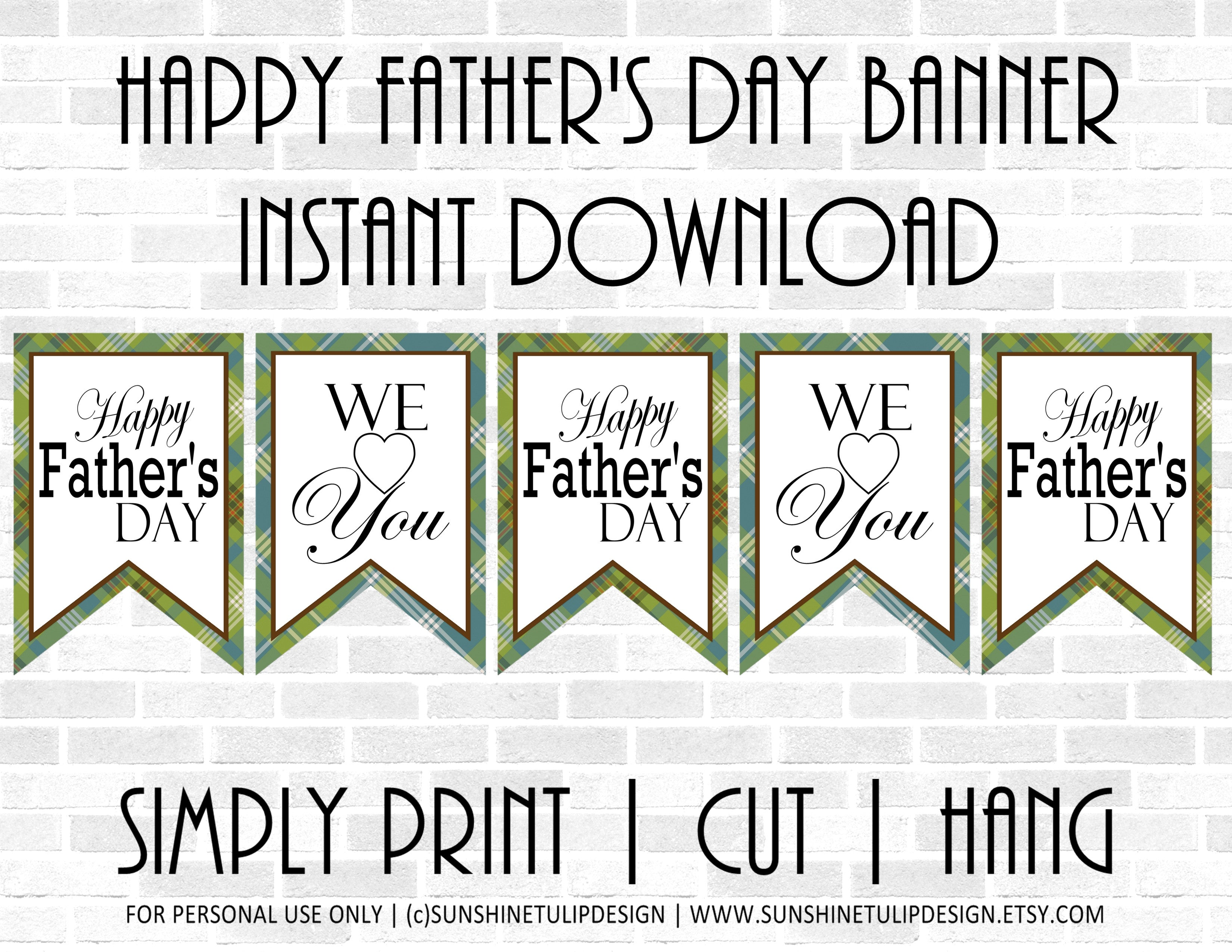 photograph regarding Happy Father's Day Banner Printable identify Printable Content Fathers Working day Banner, Printable Plaid Fathers Working day Occasion Banner via SUNSHINETULIPDESIGN