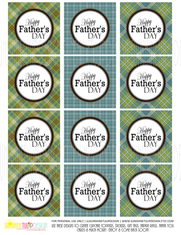 Printable Fathers Day Gift Tags, Printable Plaid Happy Father's Day Cupcake Toppers by SUNSHINETULIPDESIGN