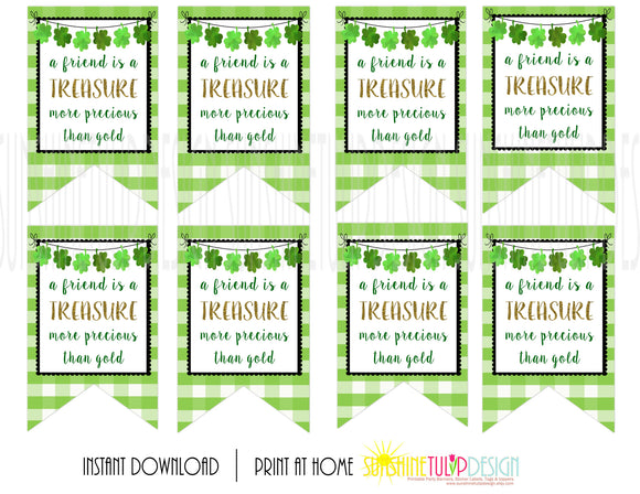 Printable St Patrick's Day Gift Tags, Friends are a Treasure Tags, Green Buffalo Plaid Gift Tags by SUNSHINETULIPDESIGN