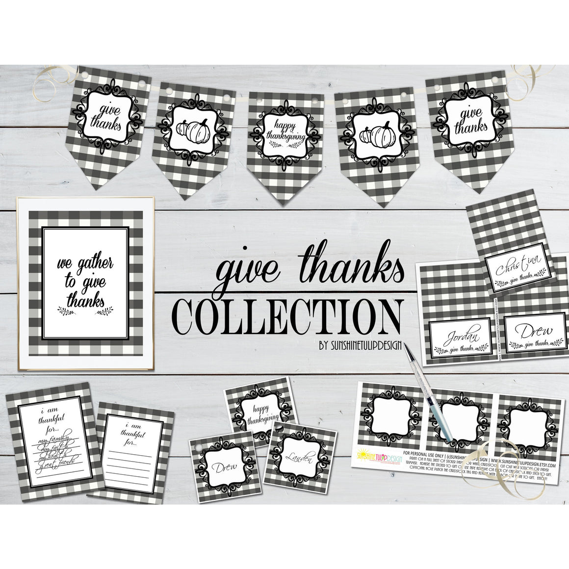 Printable Give Thanks Collection Decor, Printable Buffalo Plaid Thanksgiving Decorations, Food Tent Cards, Wall Decor - Sunshinetulipdesign - 1