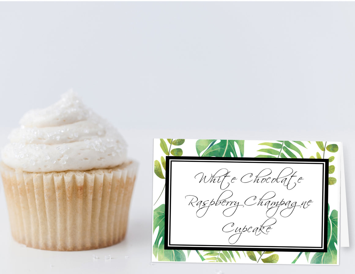 Printable Greenery Food Label Tent Cards, Green and White All Occasion cards by SUNSHINETULIPDESIGN