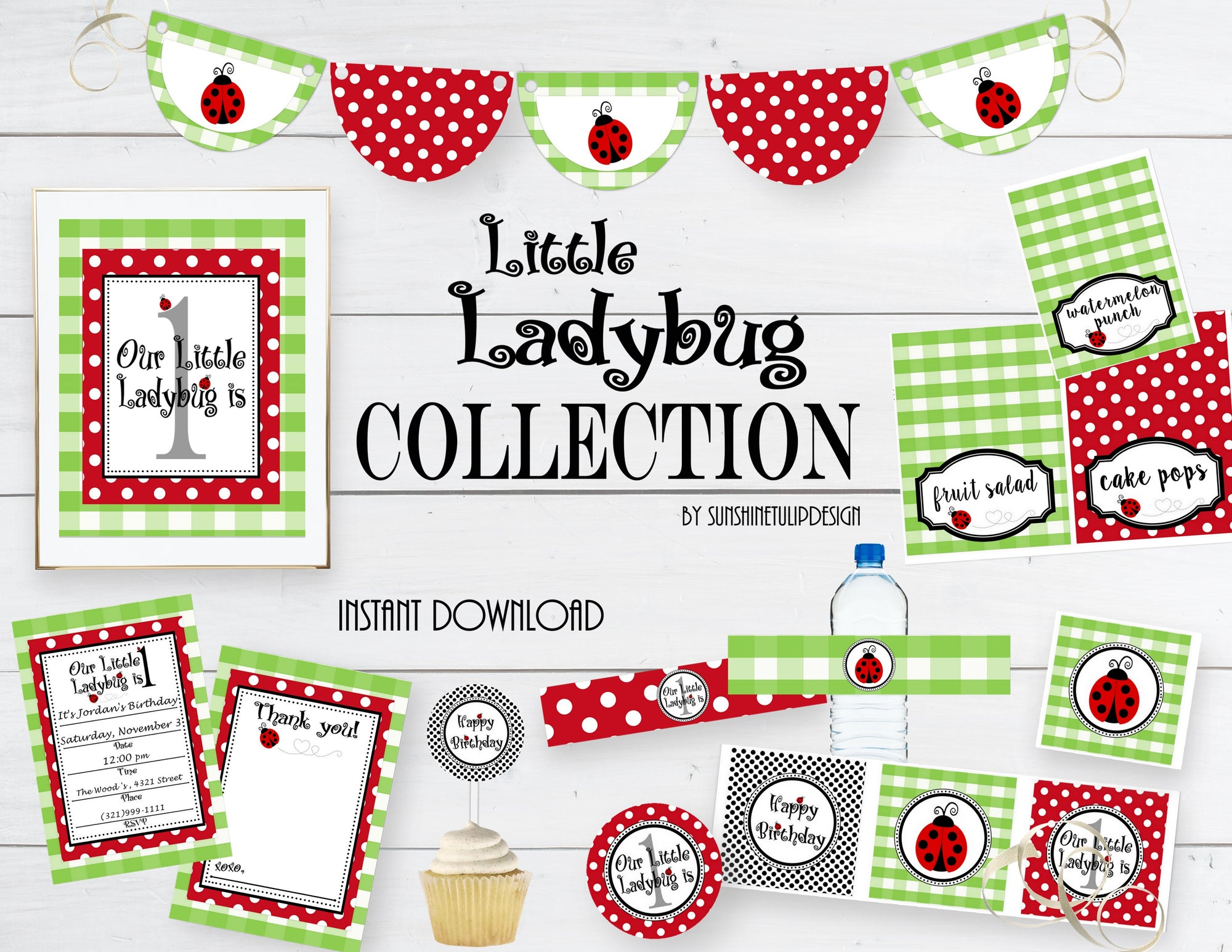 Printable Little Ladybug Birthday Party Package LadyBug Decorations By SUNSHINETULIPDESIGN