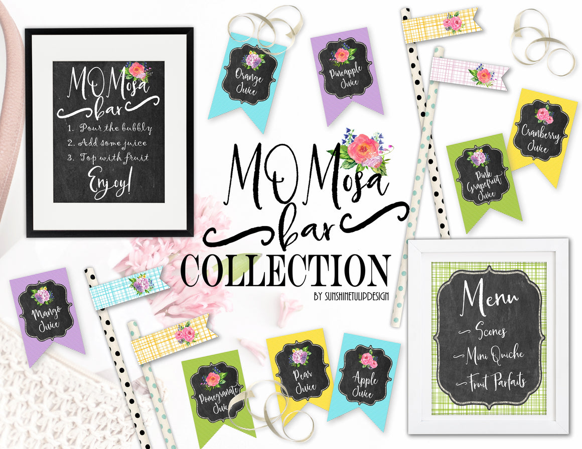 Printable Mimosa, MOMosa Bar Collection, Printable Mother's Day Party Decorations, Instant Download MOMosa Bar Brunch Party by SUNSHINETULIPDESIGN