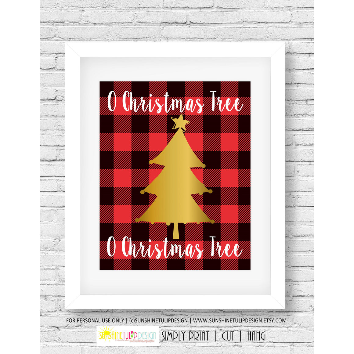 Printable Christmas Wall Decor, Christmas Print Art, Buffalo Plaid Christmas Tree  by SUNSHINETULIPDESIGN - Sunshinetulipdesign - 1