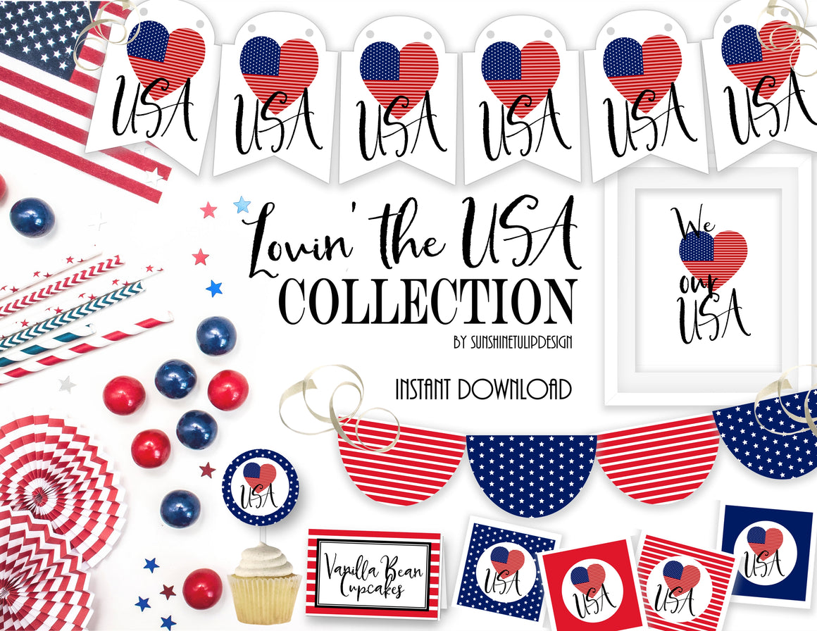 Printable 4th of July Decorations, Printable Patriotic Party Decorations, Printable Memorial Day Decorations by SUNSHINETULIPDESIGN