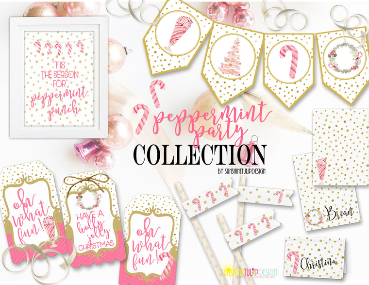 Printable Peppermint Party Package Decorations, Printable Christmas Beverage Bar Decorations by SUNSHINETULIPDESIGN