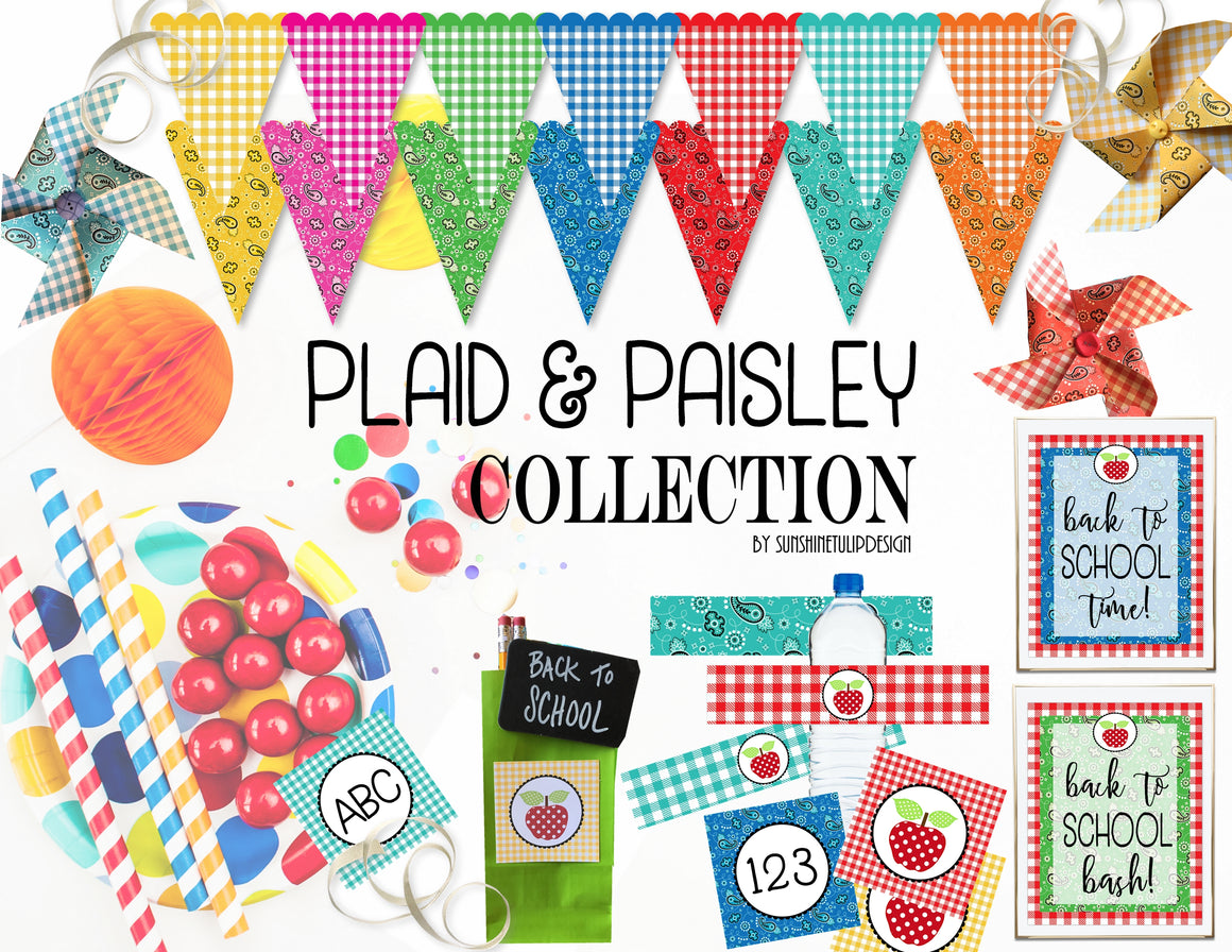 Printable Back To School Party, Printable Plaid and Paisley Collection by SUNSHINETULIPDESIGN