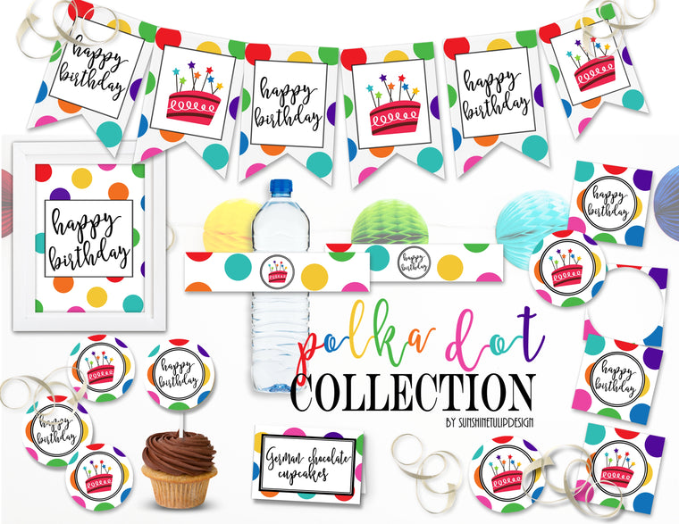 Printable Polka Dot Birthday Collection, Printable Rainbow Polka Dot Party Decorations by SUNSHINETULIPDESIGN