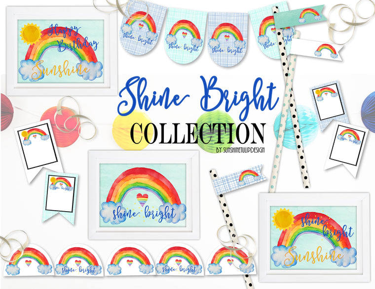 Printable Rainbow Party Package, Printable Rainbow Party Decorations, Instant Download Rainbow Party by SUNSHINETULIPDESIGN