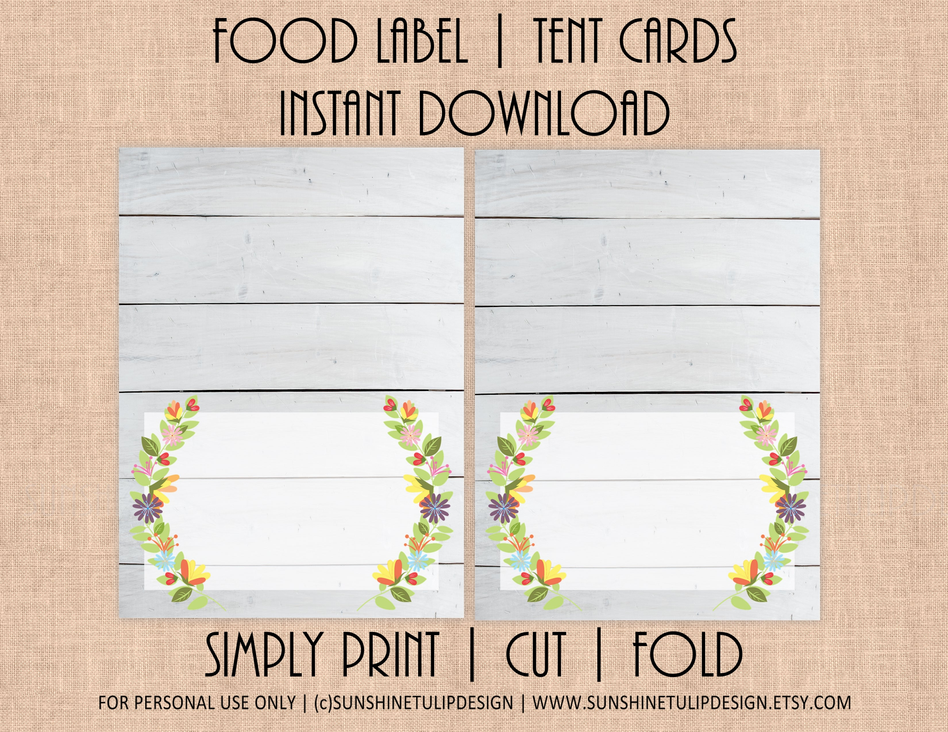 picture relating to Printable Tent Cards named Printable Floral Shiplap Food stuff Label Tent Playing cards, Blank Floral Spring All Bash playing cards via SUNSHINETULIPDESIGN