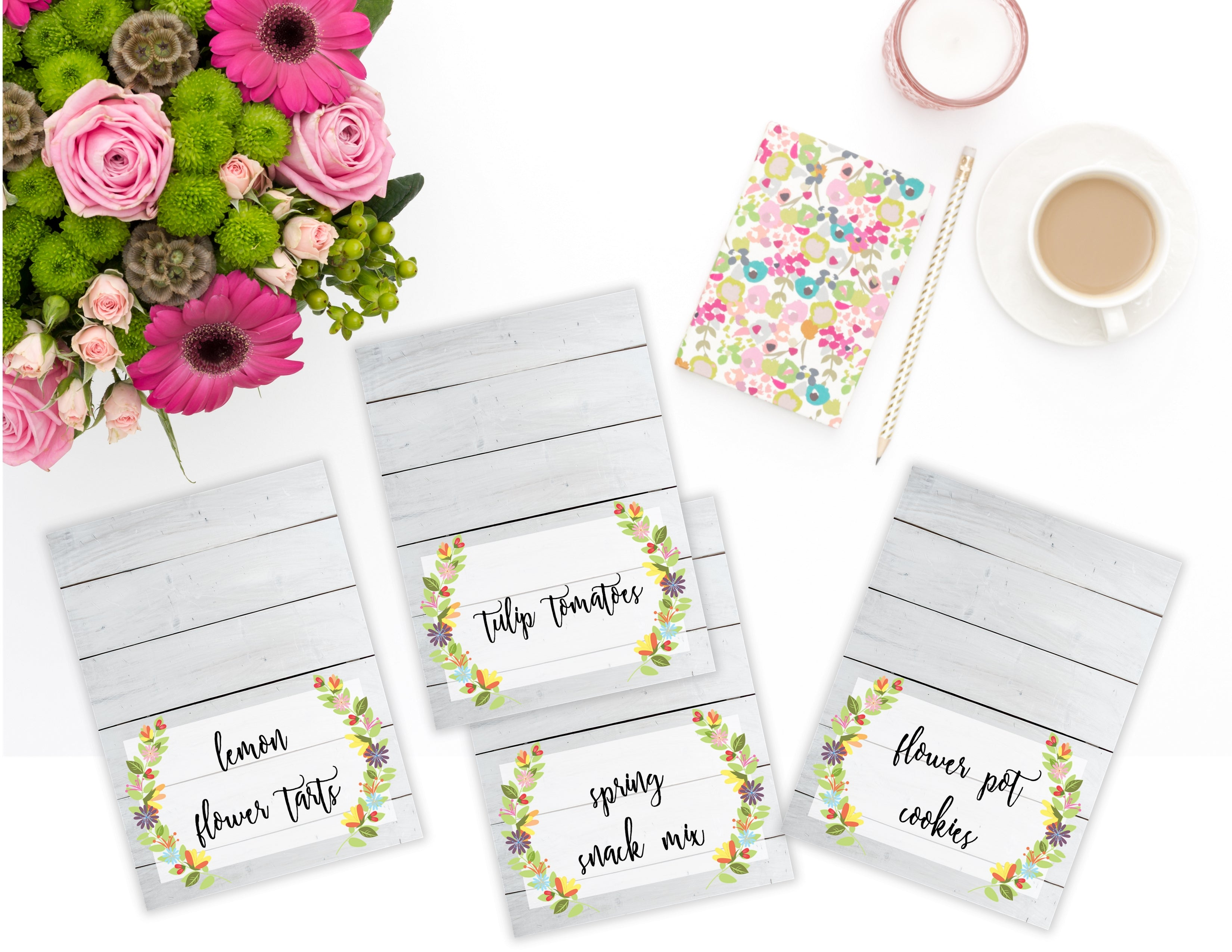 photograph relating to Printable Tent Card named Printable Floral Shiplap Food stuff Label Tent Playing cards, Blank Floral Spring All Bash playing cards as a result of SUNSHINETULIPDESIGN