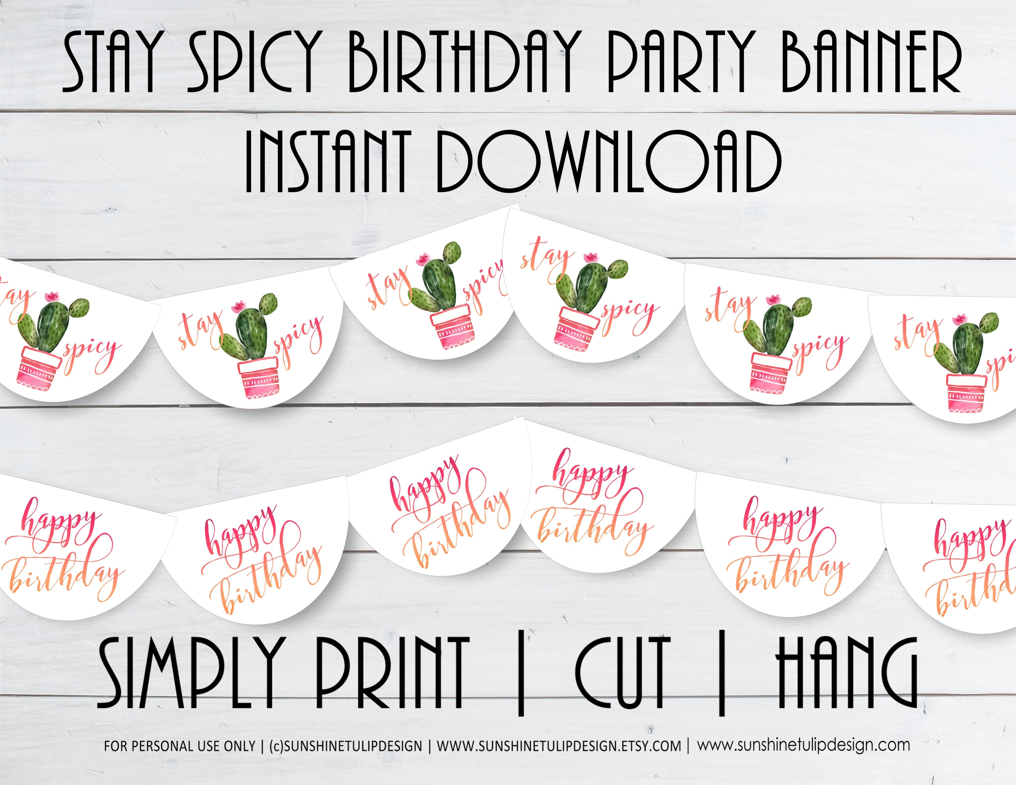 image regarding Birthday Banner Printable titled Printable Cactus Get together Banner, Keep on being Spicy Cactus Birthday Banner by means of SUNSHINETULIPDESIGN
