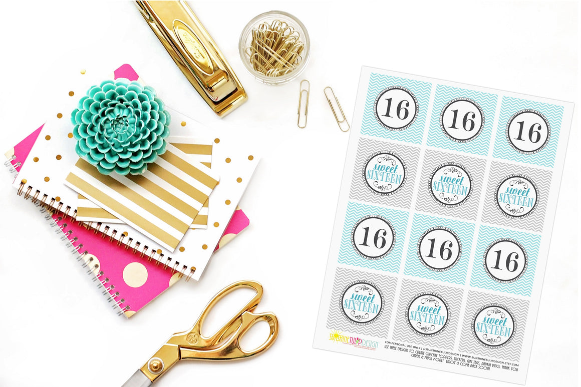 Printable Sweet 16 Birthday Cupcake Toppers, Sticker Labels & Party Favor Tags by SUNSHINETULIPDESIGN - Sunshinetulipdesign - 1
