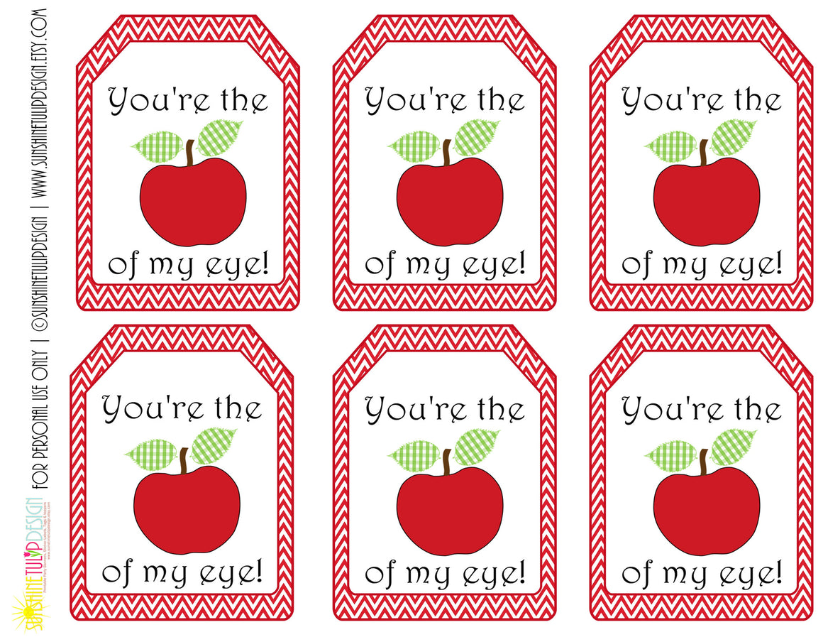 Printable Teacher Appreciation Gift Tags You're the Apple of my Eye by SUNSHINETULIPDESIGN - Sunshinetulipdesign - 1