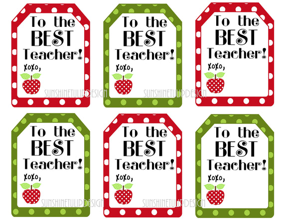 Printable Teacher Appreciation Gift Tags, The Best Teacher Gift Tags by Sunshinetulipdesign - Sunshinetulipdesign