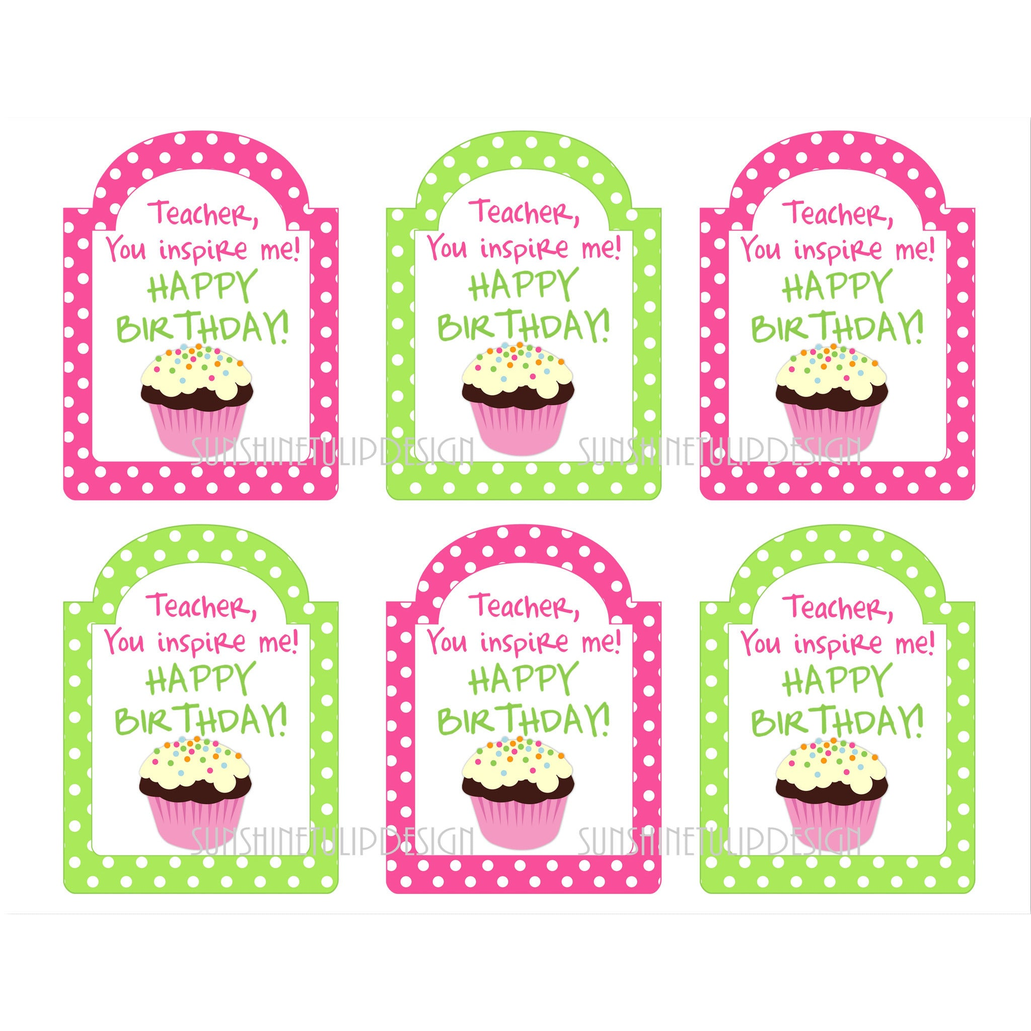 Printable Teacher Birthday Gift Tags Happy By SUNSHINETULIPDESIGN