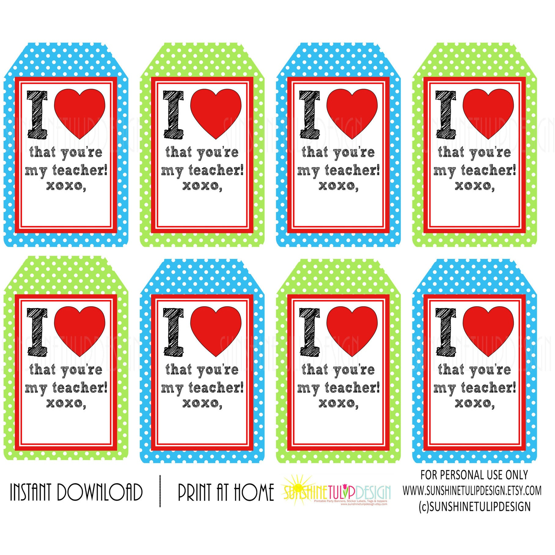 graphic about Printable Teacher Appreciation called Printable Instructor Appreciation Tags, I Enjoy That Youre My Trainer present tags as a result of SUNSHINETULIPDESIGN