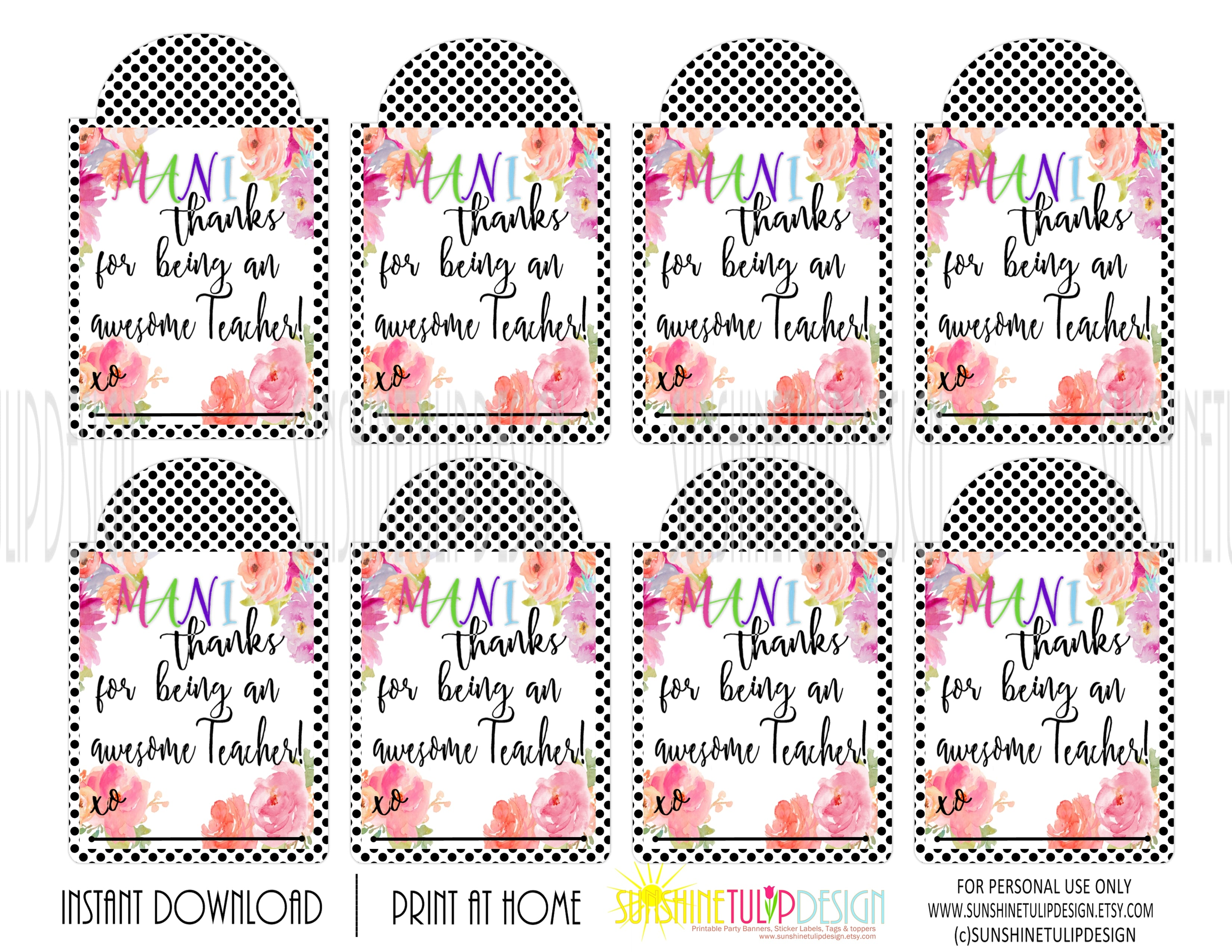 photo regarding Printable Gift Tag named Printable Trainer Appreciation Mani Because of Reward Tags, Nail Polish Appreciation Present Tags by means of SUNSHINETULIPDESIGN