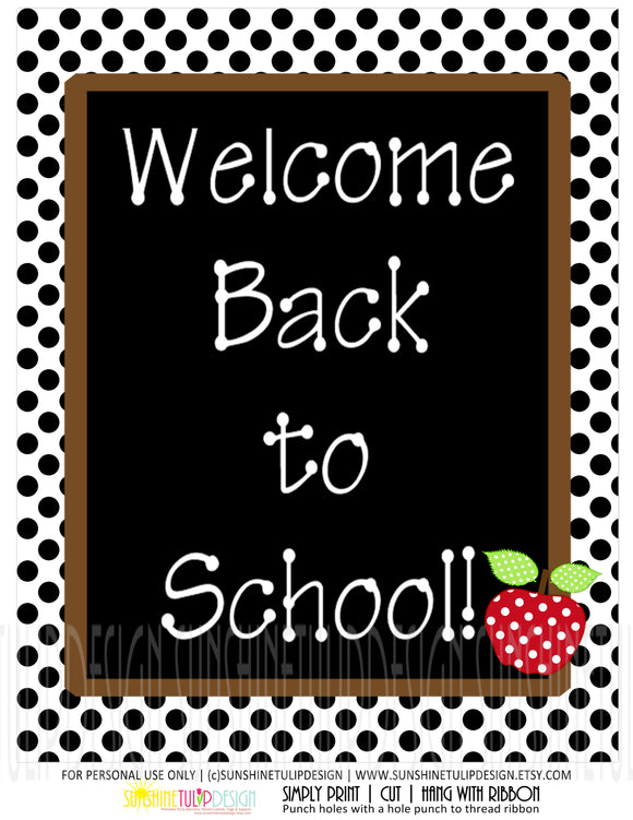 Printable Welcome Back To School Wall Print, Teacher Appreciation Wall print, Welcome Back to School Wall Decor for Classroom by Sunshinetulipdesign