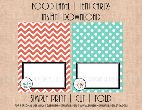 Printable Food Label Buffet Tent Cards Coral & Aqua Chevron - Sunshinetulipdesign