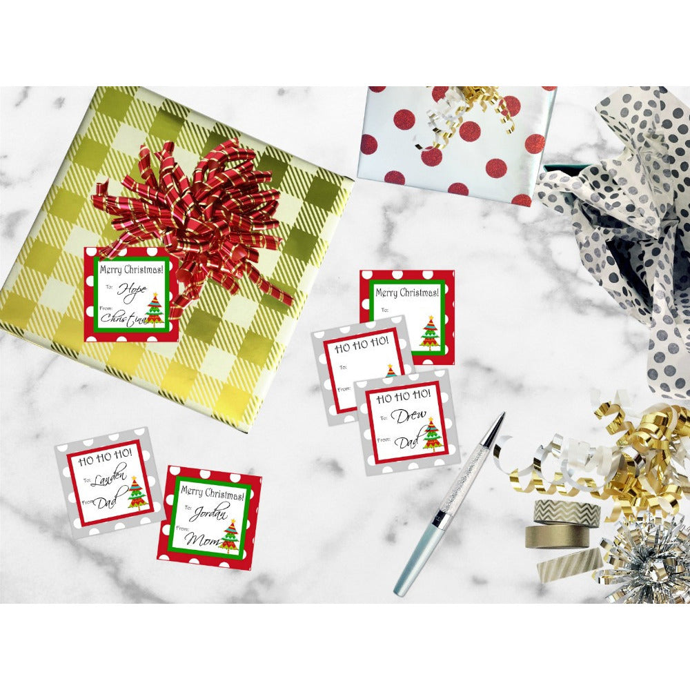 Printable Christmas Gift Tags, Christmas Labels, Red and Green Christmas Tags - Sunshinetulipdesign - 1