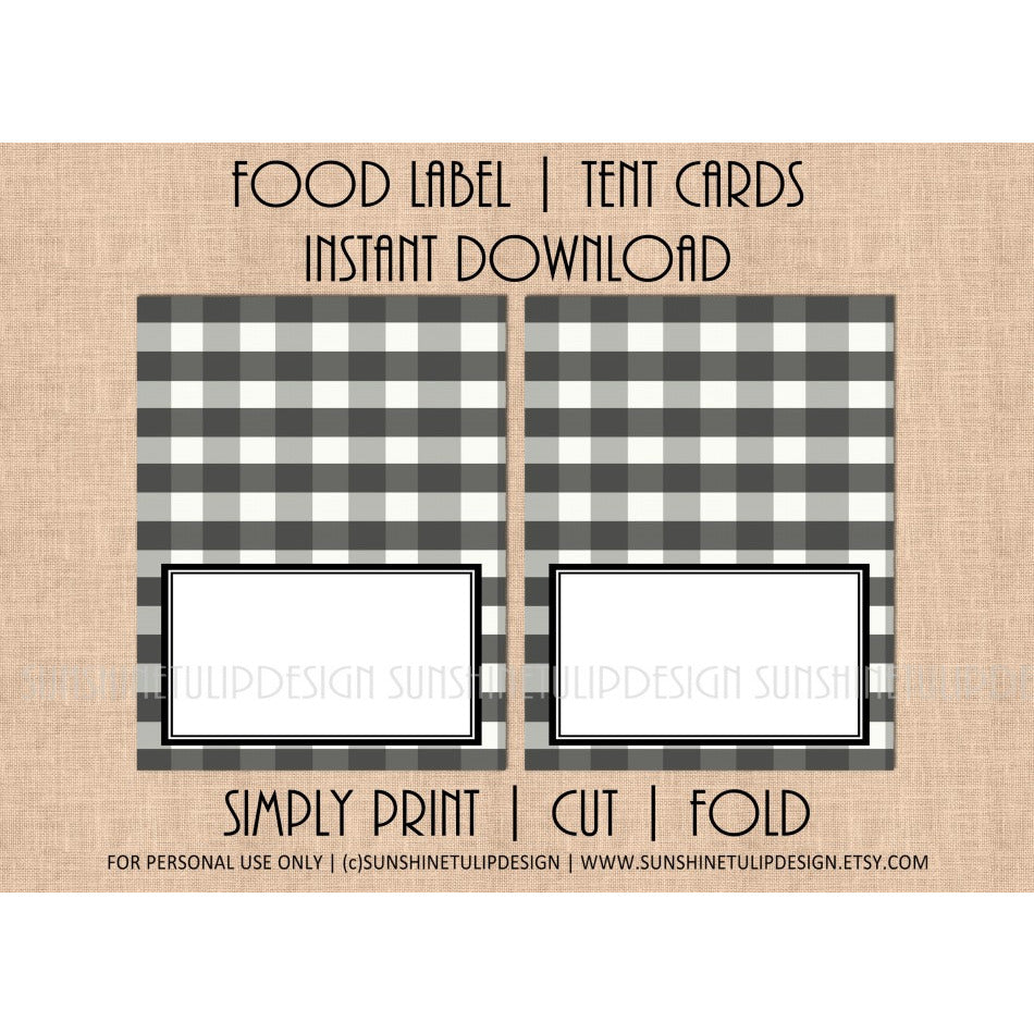 Printable Food Label Tent Cards Buffalo Check Christmas, Holiday & All Occasion by SUNSHINETULIPDESIGN - Sunshinetulipdesign