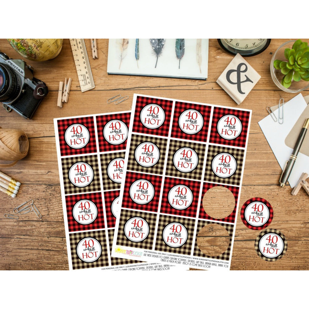 Printable 40th Buffalo Plaid Birthday, 40 and Still Hot Cupcake Toppers, & Party Favor Tags by SUNSHINETULIPDESIGN - Sunshinetulipdesign - 1