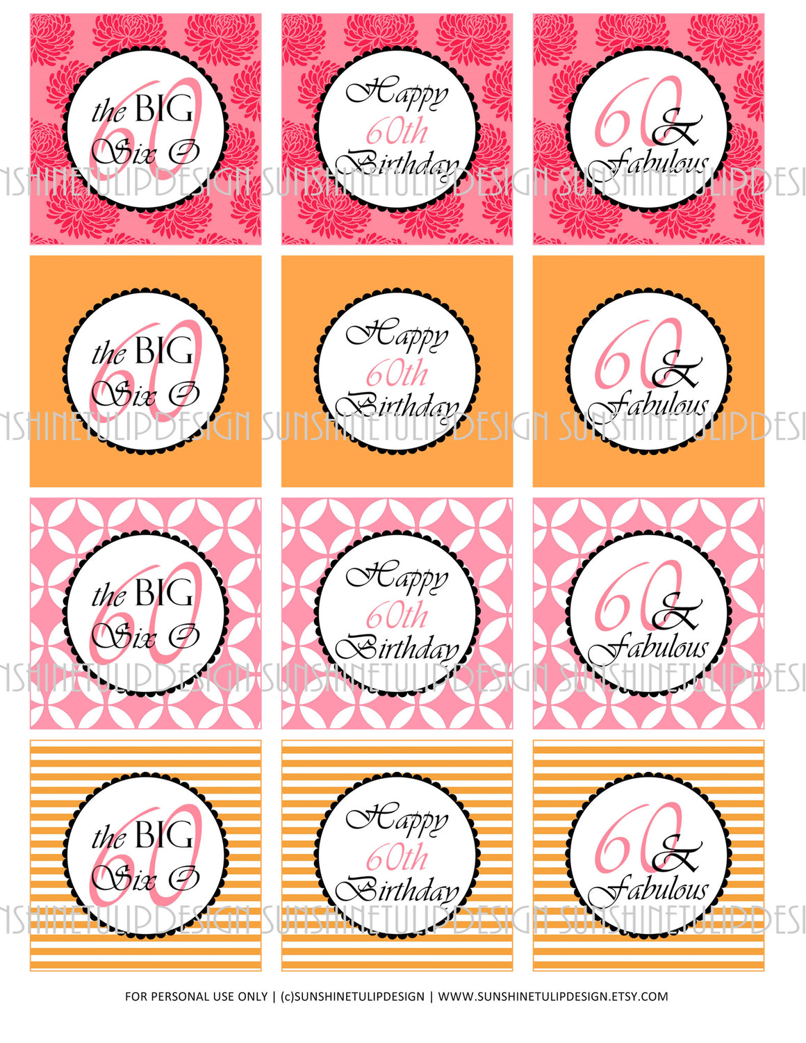 Printable 60th Birthday Pink & Orange Cupcake Toppers, Sticker Labels & Party Favor Tags - Sunshinetulipdesign