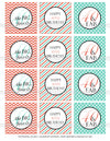 Printable 40th Birthday Coral and Aqua Cupcake Toppers, Sticker Labels & Party Favor Tags - Sunshinetulipdesign