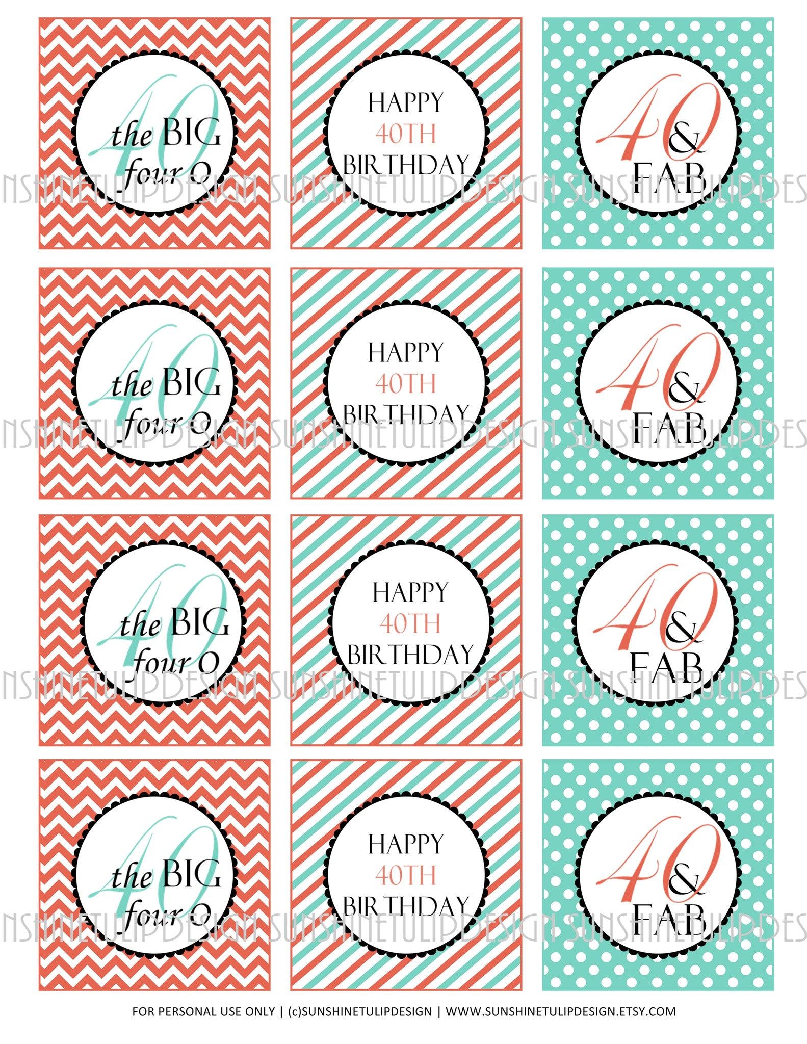 image relating to Printable Sticker Labels titled Printable 40th Birthday Coral and Aqua Cupcake Toppers, Sticker Labels  Celebration Prefer Tags