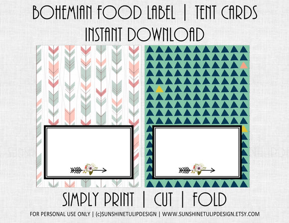 Printable Bohemian Party Food Label Tent Cards by SUNSHINETULIPDESIGN - Sunshinetulipdesign