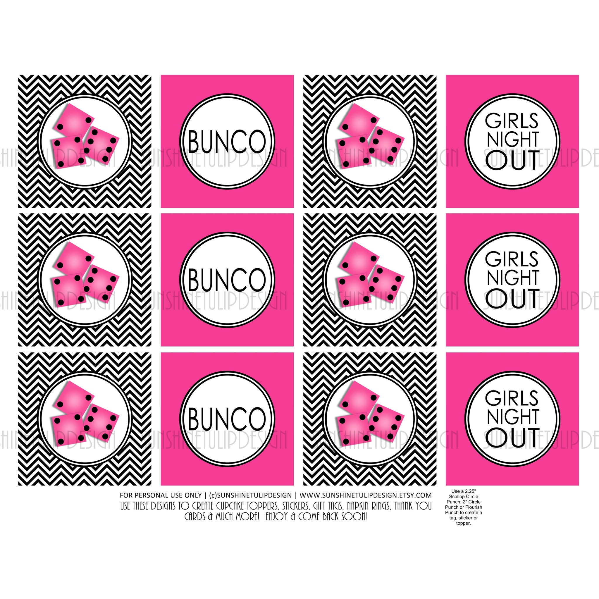 Printable bunco cupcake toppers sticker labels party favor tags sunshinetulipdesign