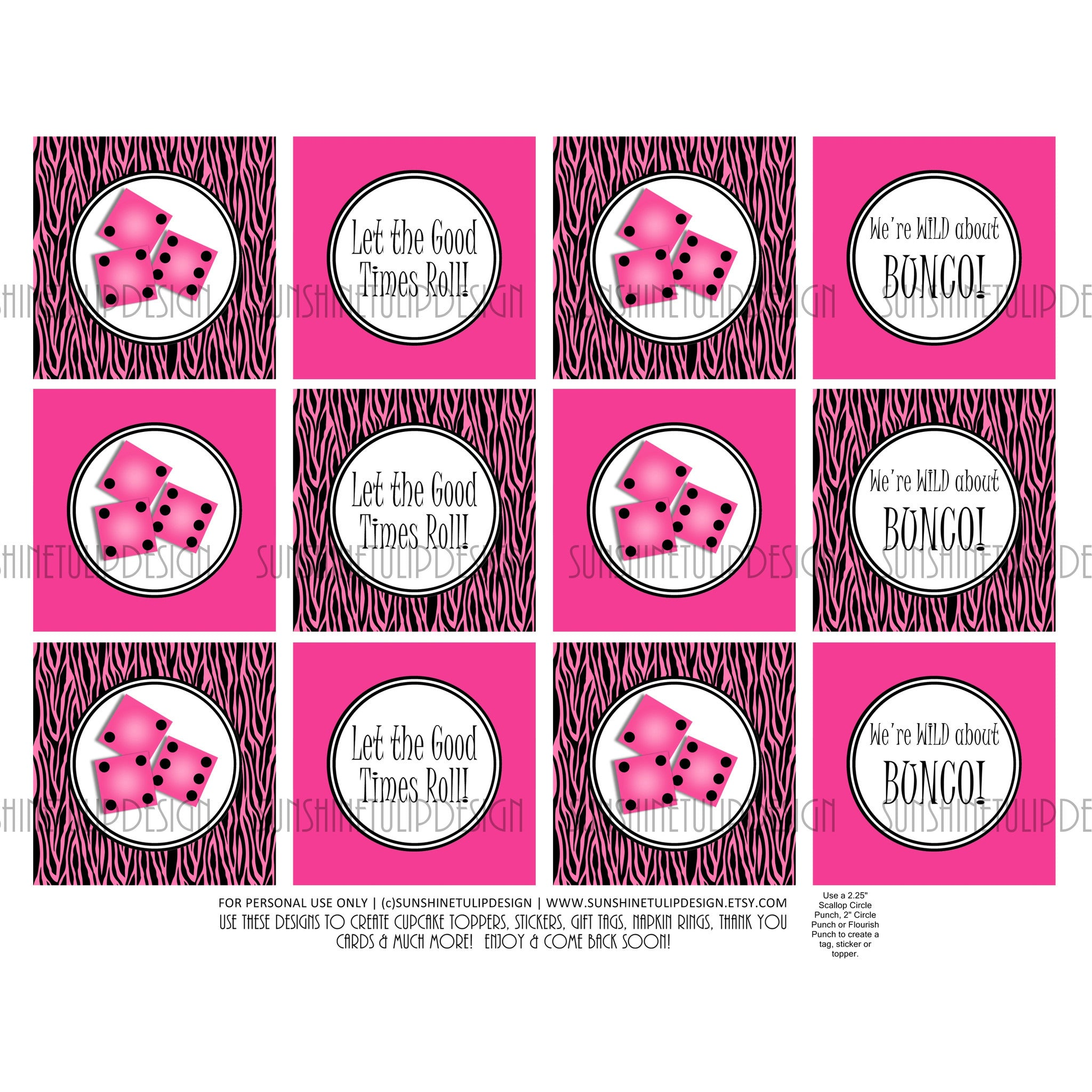 graphic relating to Printable Sticker Labels called Printable Bunco Very hot Red Zebra Cupcake Toppers, Sticker Labels Get together Prefer Tags