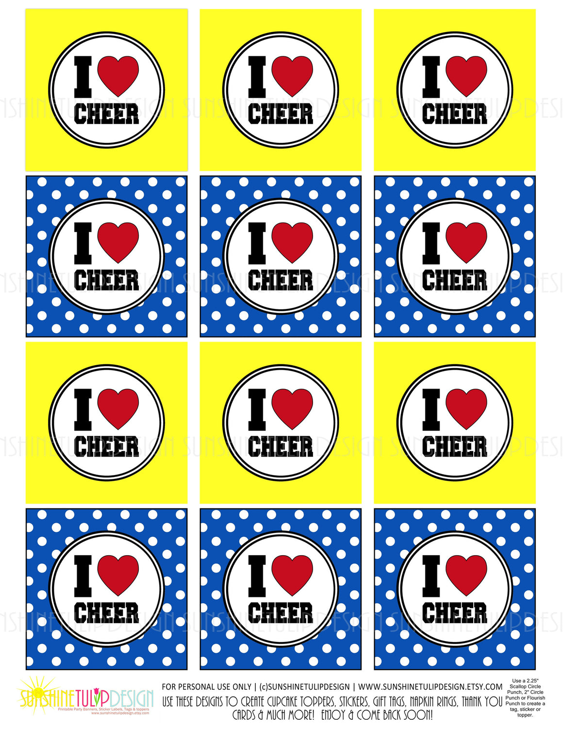 Printable Cheer Cupcake Toppers, Sticker Labels & Gift Tags - Sunshinetulipdesign