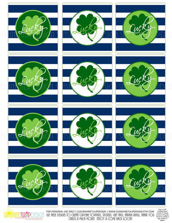 Printable St Patrick's Day Cupcake Toppers, Sticker Labels & Party Favor Gift Tags