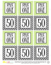 Printable 50th Birthday Five Oh! Lime Green & Black Cupcake Toppers, Sticker Labels & Party Favor Tags - Sunshinetulipdesign - 1