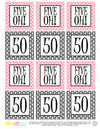 Printable 50th Birthday Five Oh! Pink & Black Cupcake Toppers, Sticker Labels & Party Favor Tags - Sunshinetulipdesign