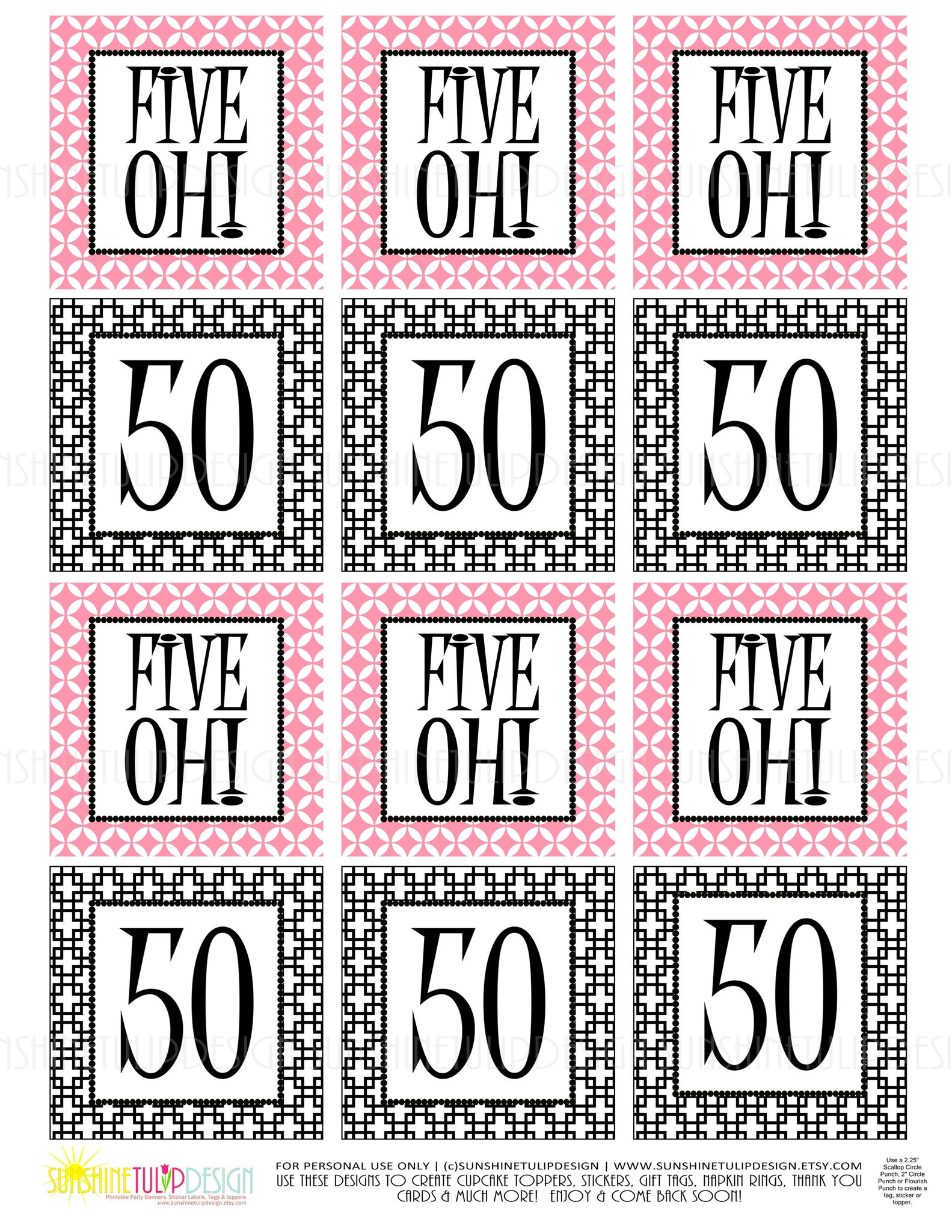 Printable 50th Birthday Five Oh Pink Black Cupcake Toppers Sticker Labels Party Favor Tags