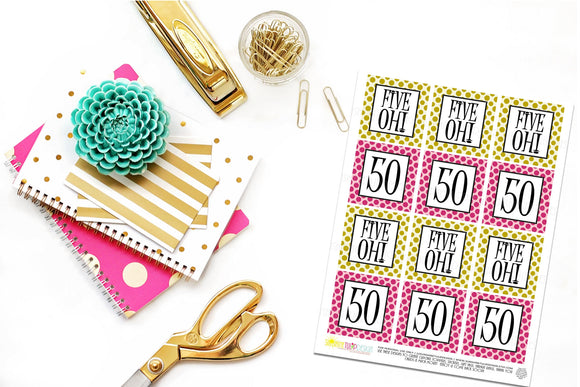 Printable 50th Birthday Five Oh! Hot Pink & Gold Cupcake Toppers, Sticker Labels & Party Favor Tags - Sunshinetulipdesign - 1