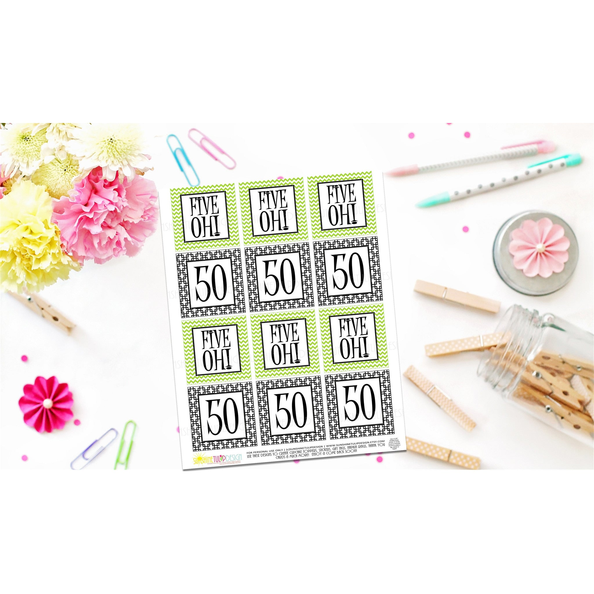 Printable 50th Birthday Five Oh Lime Green Black Cupcake Toppers Sticker Labels