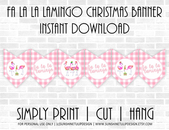 Printable Pink Flamingo Christmas Collection Package, Printable Fa La La Lamingo Christmas Party Package,