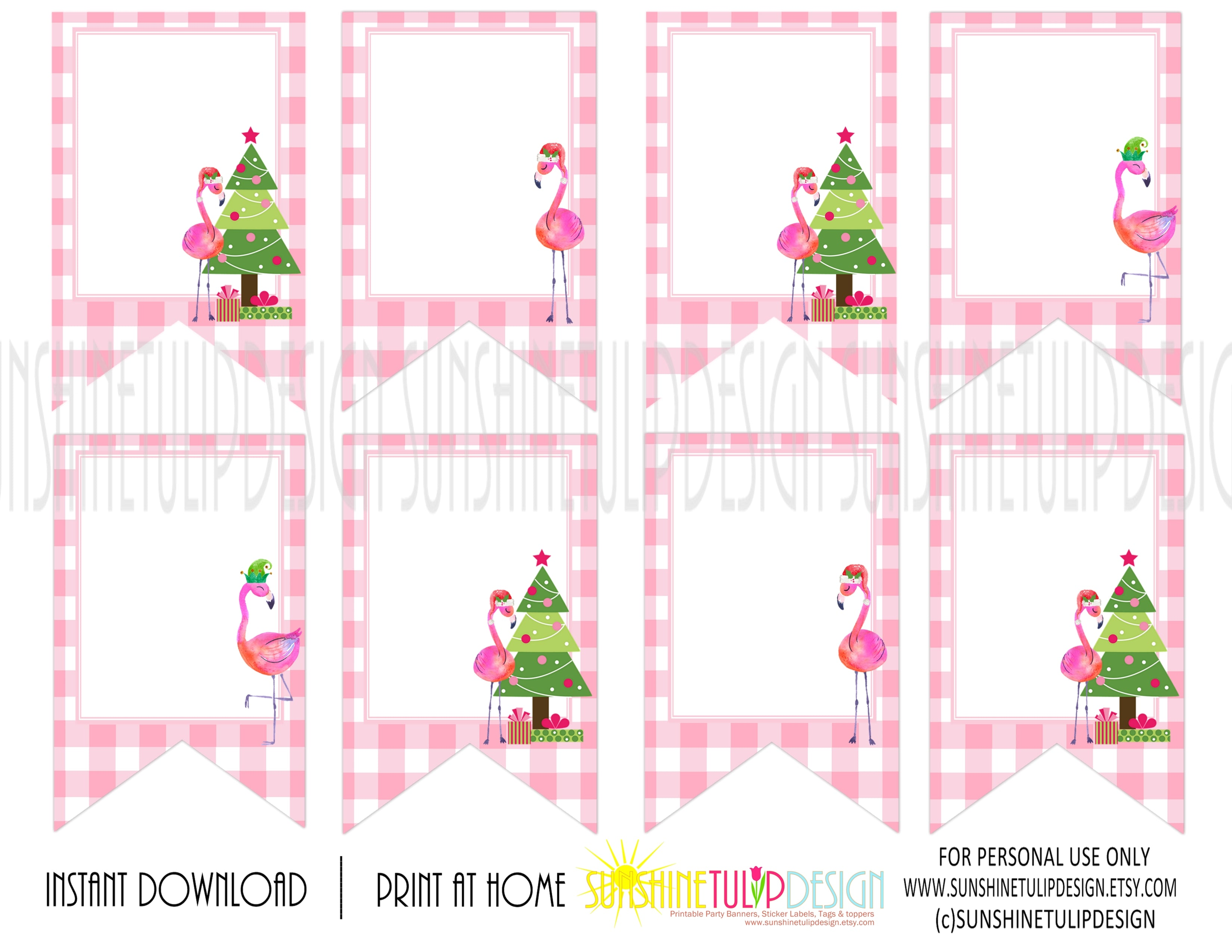 Pink Christmas.Printable Pink Flamingo Christmas Collection Package Printable Fa La La Lamingo Christmas Party Package
