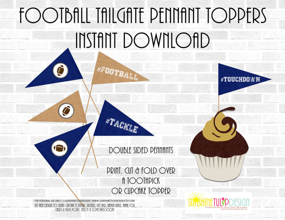 Printable Blue Football Pennants Picks, Football Tailgate Toppers, Football Birthday Picks & Toppers by Sunshinetulipdesign - Sunshinetulipdesign - 1