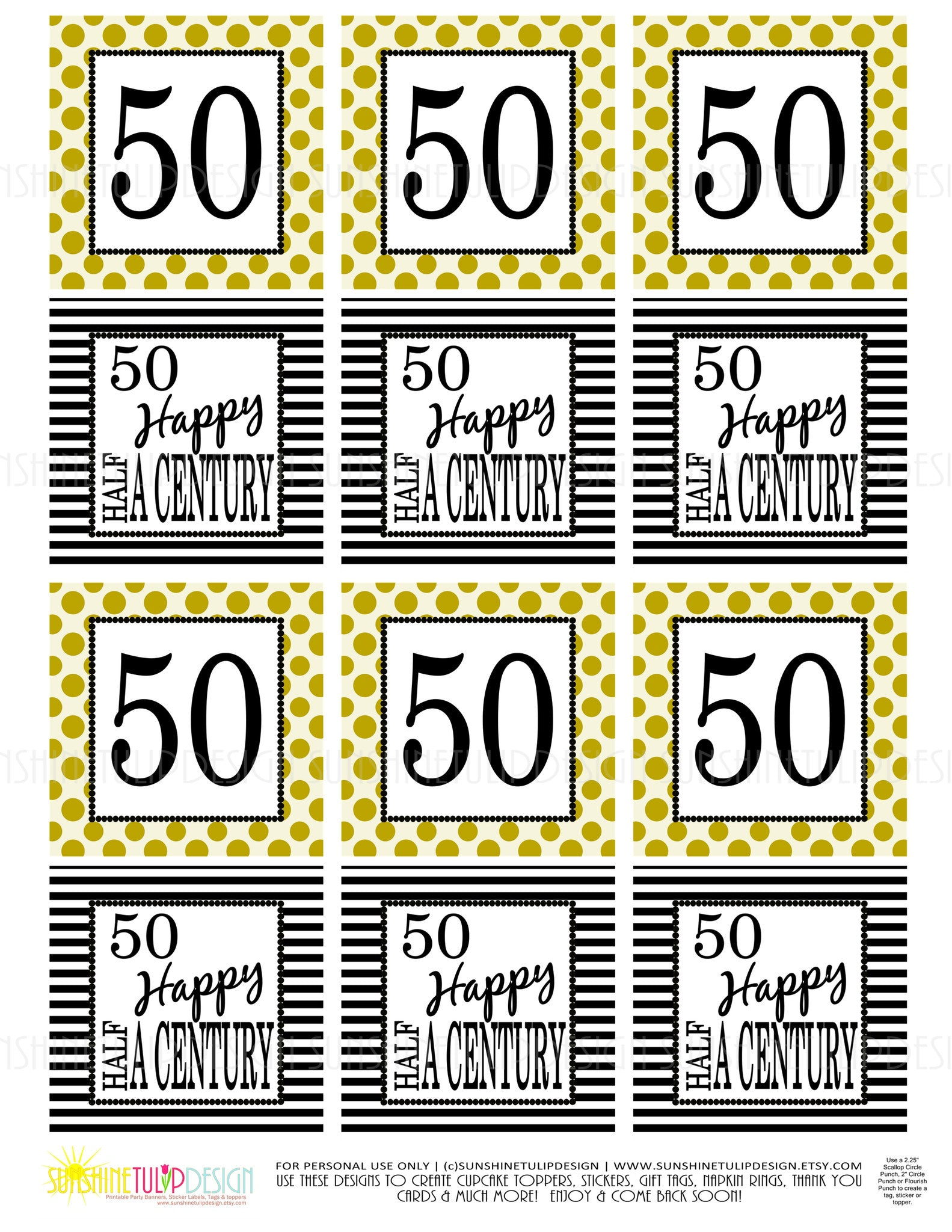 graphic regarding Gold Printable Labels referred to as Printable 50th Birthday Fifty percent A Century Gold Black Cupcake Toppers, Sticker Labels Occasion Prefer Tags