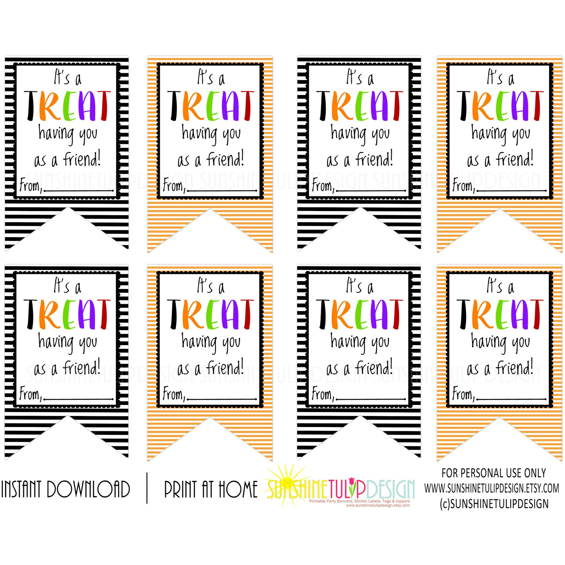 Printable Halloween Gift Tags, It's a TREAT Having You as a Friend ...