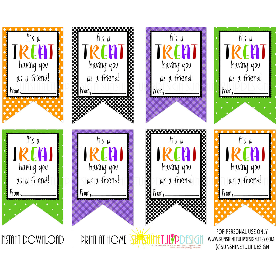 Printable Halloween Gift Tags, It's a TREAT Having You as a Friend Halloween Gift Tags by SUNSHINETULIPDESIGN - Sunshinetulipdesign