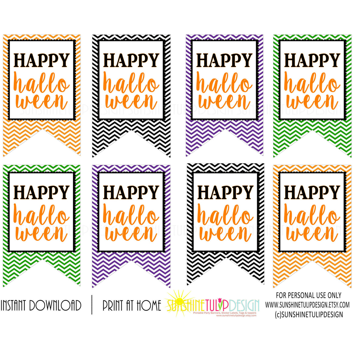 Printable Halloween Gift Tags, Happy Halloween Chevron Favor Gift Tags by SUNSHINETULIPDESIGN - Sunshinetulipdesign