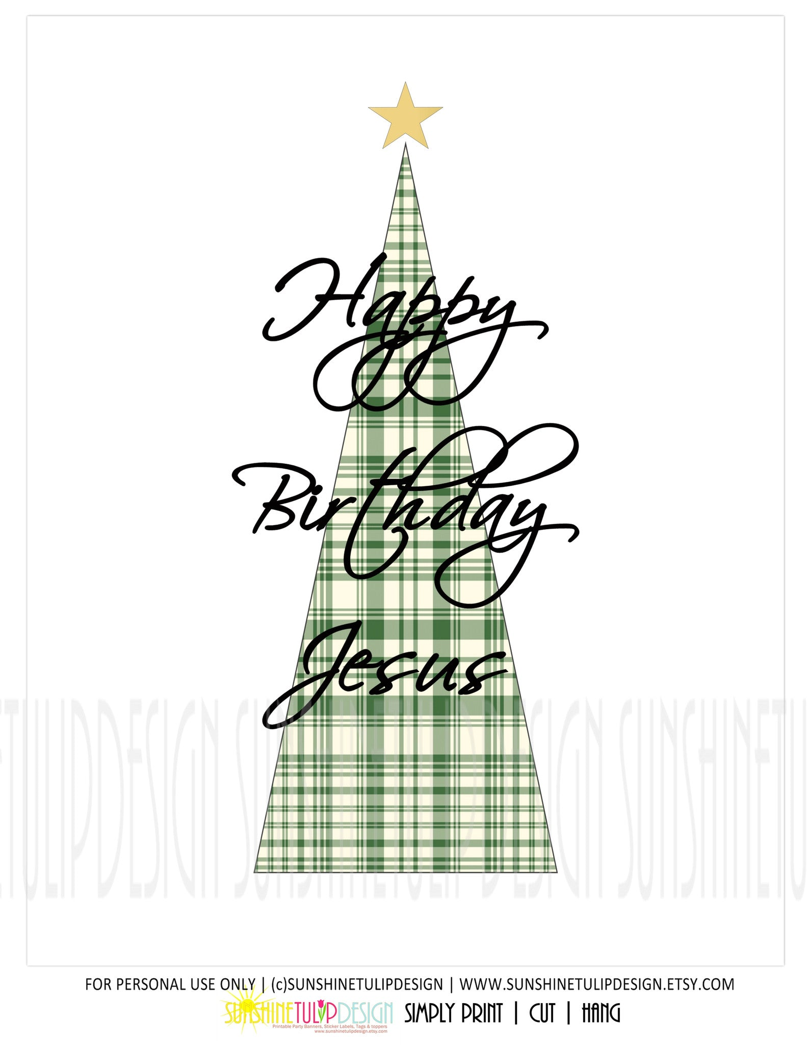 Christmas Images To Print.Printable Christmas Wall Decor Happy Birthday Jesus Christmas Print Art Plaid Christmas Tree By Sunshinetulipdesign
