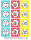 Printable Sweet 16 LUAU Birthday Cupcake Toppers, Luau Party Gift Tags by SUNSHINETULIPDESIGN