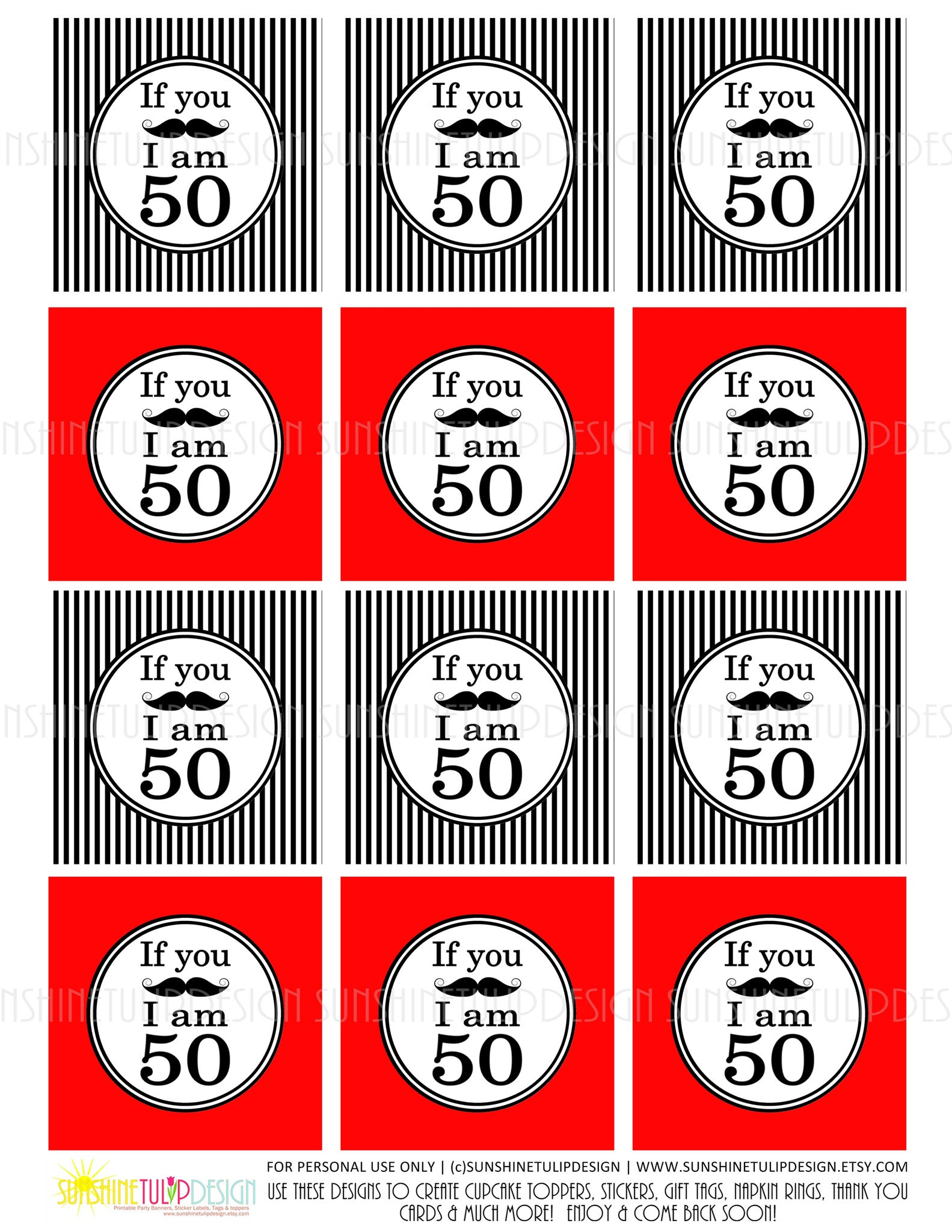 Printable 50th Birthday If You Mustache Cupcake Toppers Sticker Labels Party Favor Tags